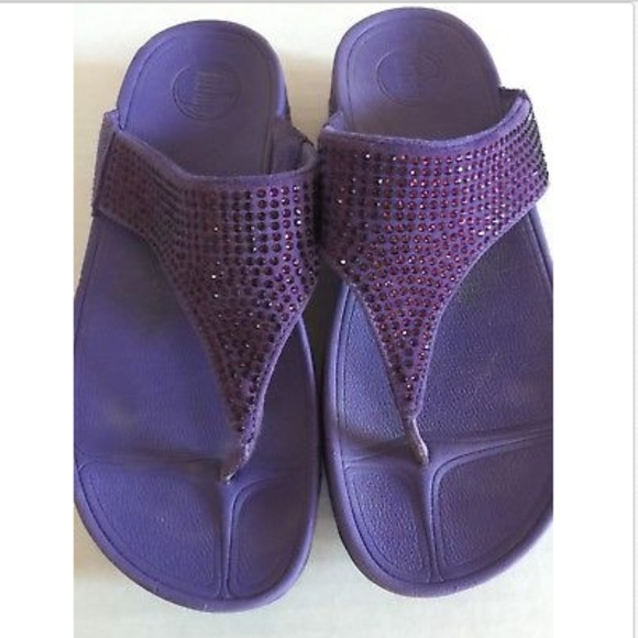 b1110d06f96dd4 Fitflop Shoes - FitFlop Rokkit Purple Suede Rhinestones Thong Flip